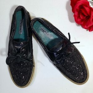 SPERRY TOP-SIDER Black Glitter Boat Shoes Size 8